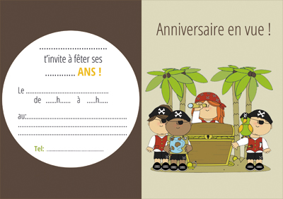 carton invitation petit pirate ile au tresor-miniature