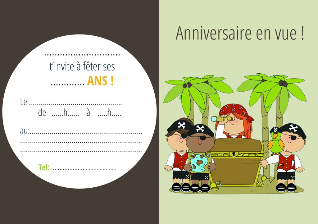 carton invitation petit pirate ile au tresor