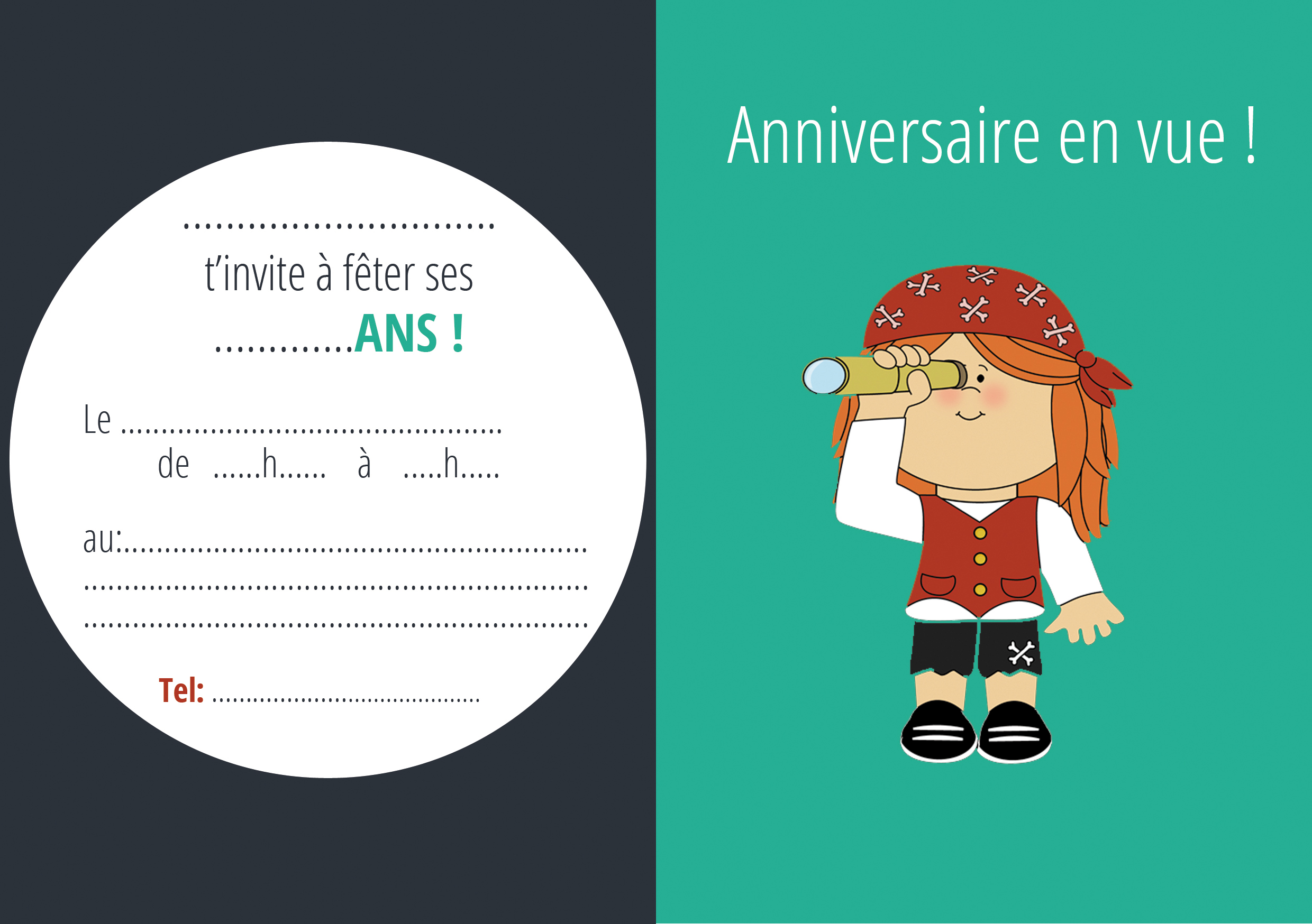 invitation pirate fille mon anniversaire pirate