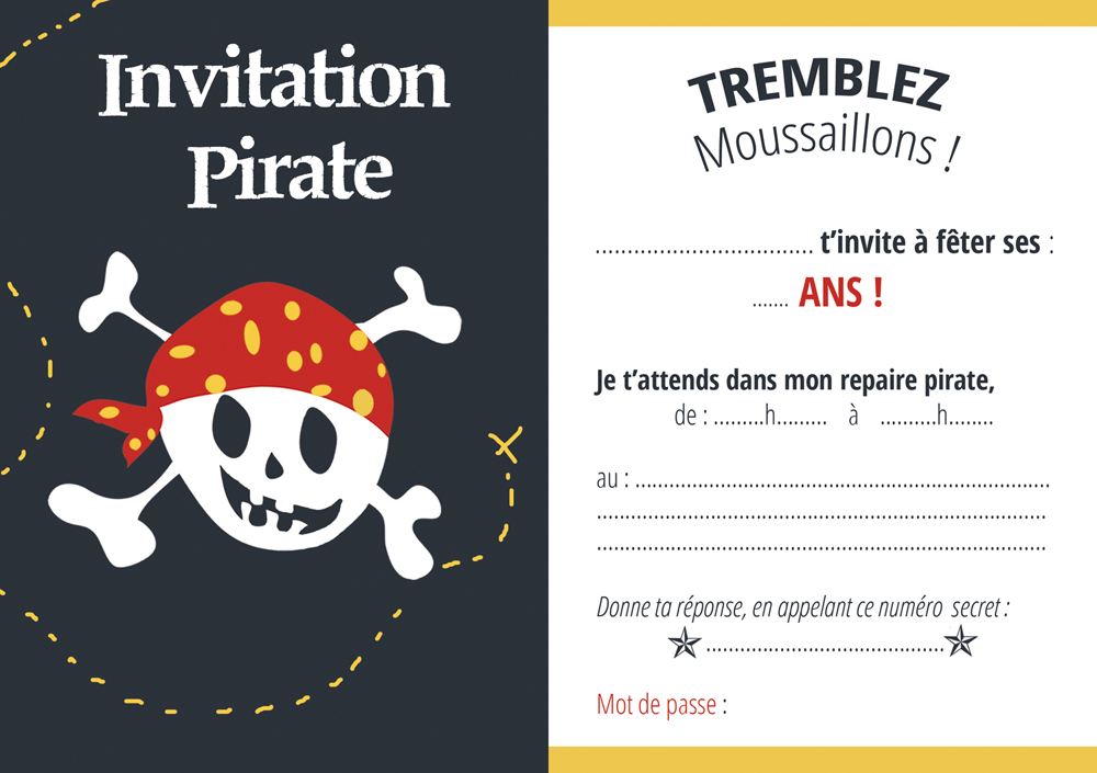 Invitations pirate gratuites en fran ais - Invitation anniversaire garcon pirate ...