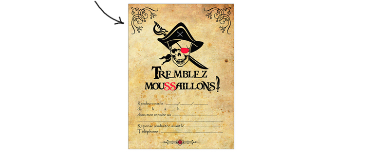 invitation pirate parchemin