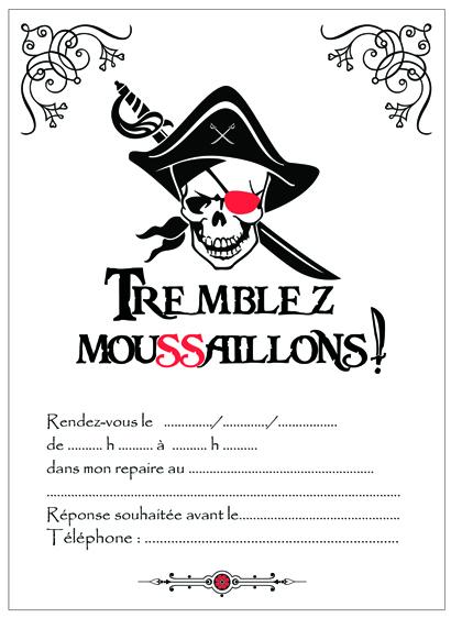 invitation pirate sanguinaire noir et blanc-miniature