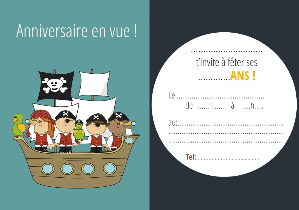 carton invitation bateau pirate