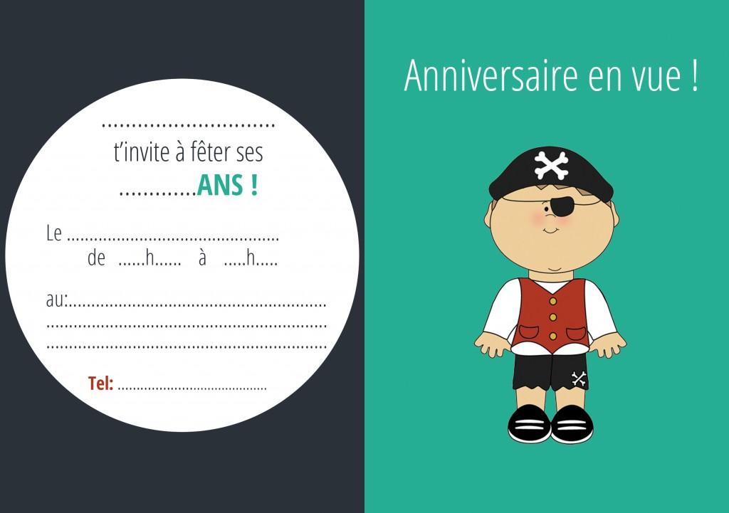 carton invitation pirate garçon