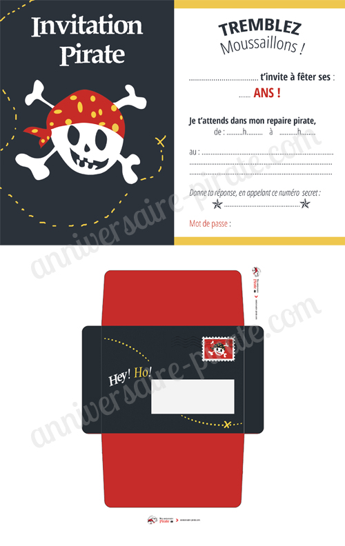 invitation pirate tete de mort rigolote et enveloppe