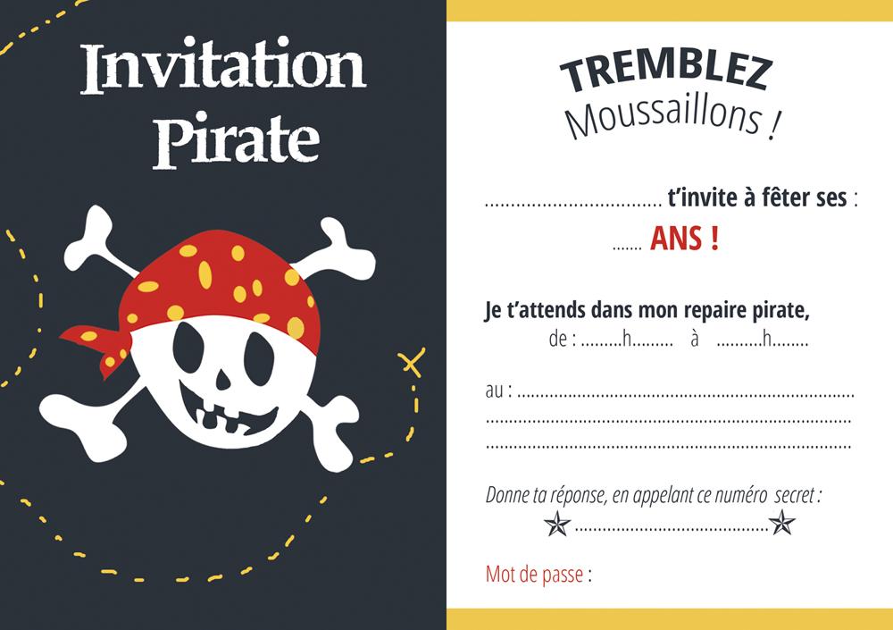 carte invitation pirate
