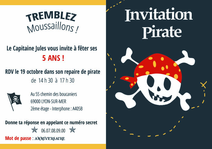invitation pirate personnalisée